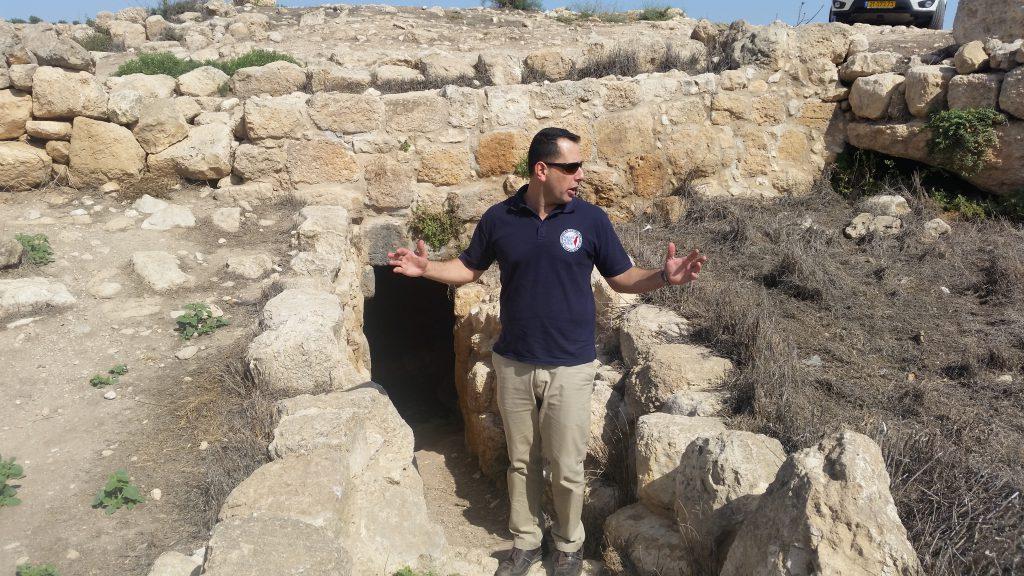 Alon outside a cave in Yatir