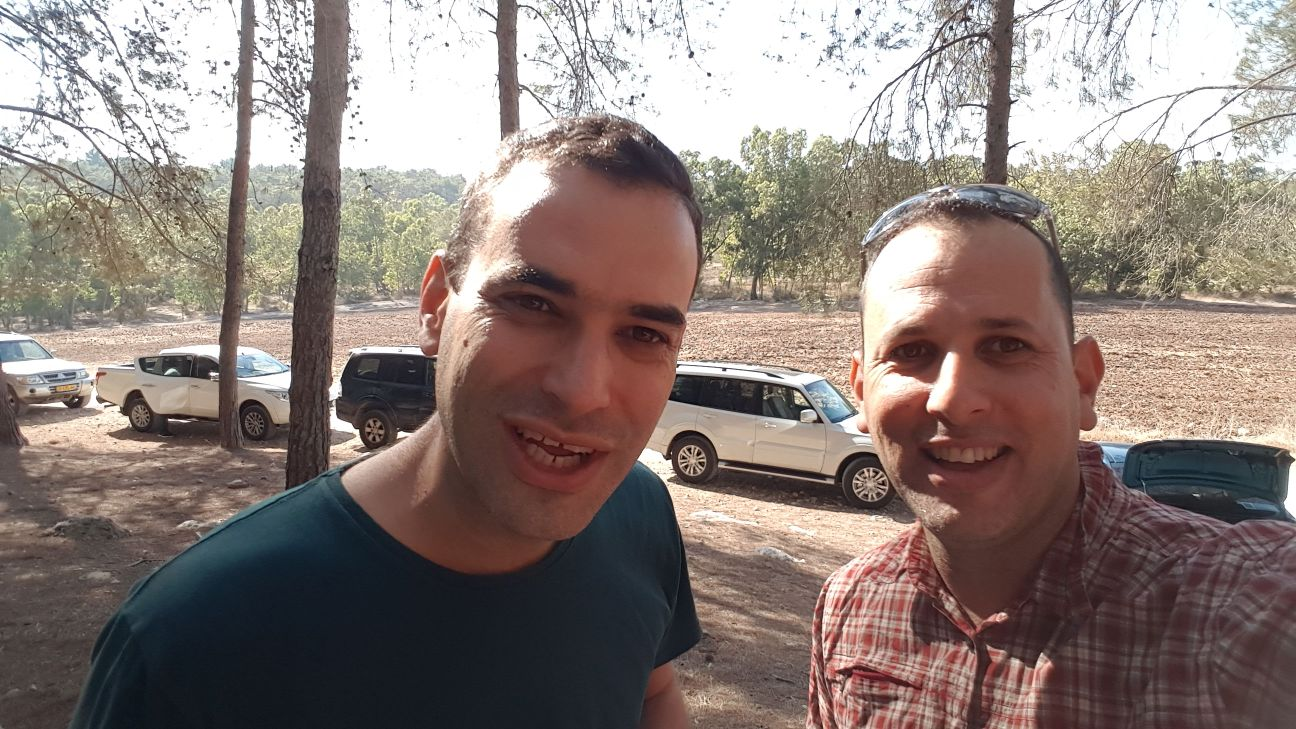 Alon [right] and Barak out on the trail